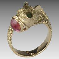 Vintage 14K Pink Tourmaline and Jade Koi Fish Ring