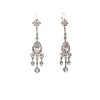 Late Victorian Diamond and Pearl Drop Earrings