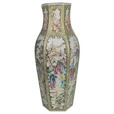 Fine 18th C Hexagonal Chinese Vase in Famille Rose Mandarin Pattern