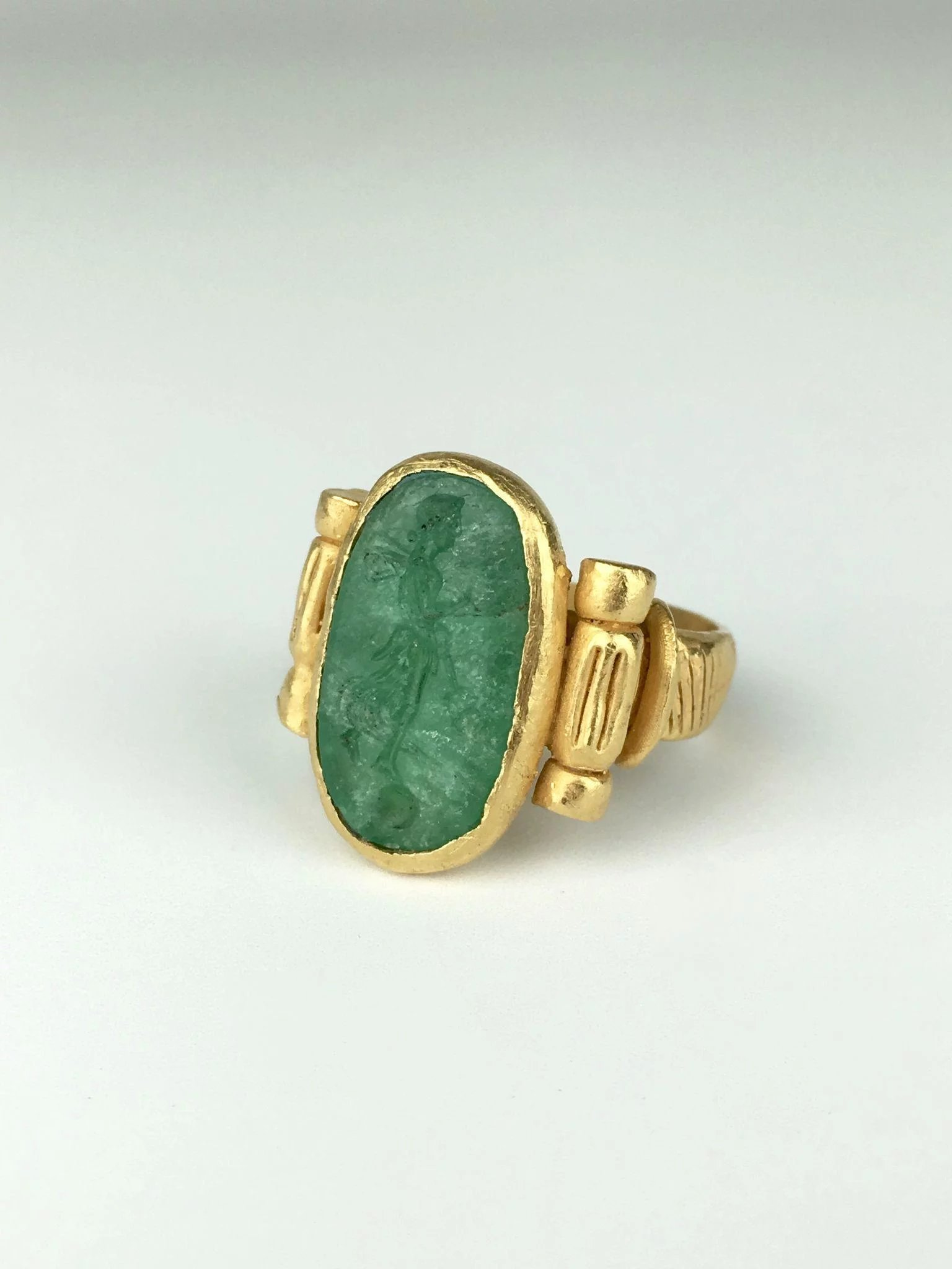 22K Green Beryl Emerald Intaglio Ring of the Goddess Psyche : Park ...