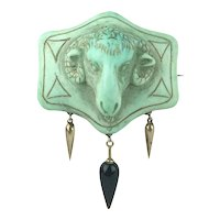 Victorian Ram's Head Cameo Brooch with 14K Amphorae Pendants