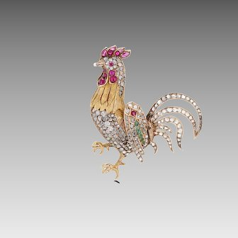 18K Emerald, Ruby and Rose Cut Diamond Rooster Brooch with Moving Wing