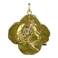 14K Art Nouveau Locket with Rose Cut Diamonds