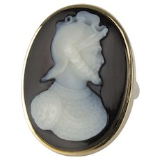 14K Signed Hardstone Cameo Locket Ring of Mars / Ares