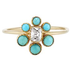 18K Turquoise and Old Cut Diamond Flower Cluster Ring - Conversion Ring