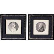 Pair of Charles Saint-Memin Portrait Engravings of Edmund & Catherine Dutilh