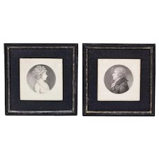 Pair of Charles Saint-Memin Portrait Engravings of Edmund & Catherine Dutilh