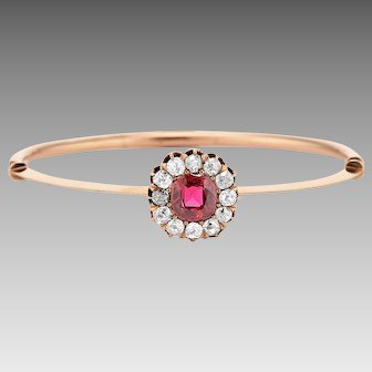Late Victorian 14k Mine Cut Diamond and Simulated Ruby Cluster Bangle Bracelet