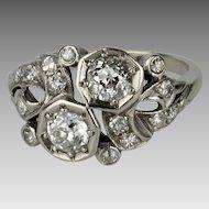 Beautiful Art Deco 14K Filigree Toi et Moi Diamond Ring - Twin Stone Ring