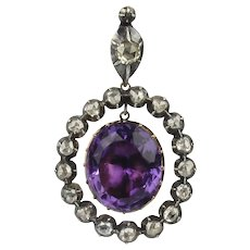 Georgian 14K Amethyst and Rose Cut Diamond Pendant