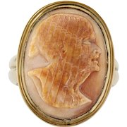 Fine antique jewelry cameo on ruby lane antique 18k cameo ring of a native american indian with mohawk aloadofball Choice Image