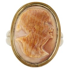 Antique 18K Cameo Ring of a Native American Indian with Mohawk