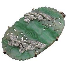 Vintage 14K and Platinum Diamond and Jade Pendant Brooch