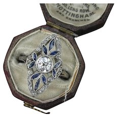 French Belle Epoque Diamond and Sapphire Ring