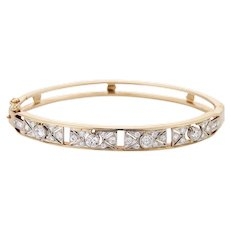 Vintage Platinum and 14K Diamond Conversion Bangle Bracelet