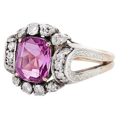 18K Art Deco Pink Sapphire and Diamond Ring