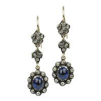 Victorian Sapphire and Diamond Drop Earrings - 1.60 Carat