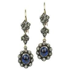 Victorian Sapphire and Diamond Drop Earrings - 1.60 Carat