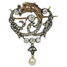 French Art Nouveau Diamond Griffin Brooch Pendant