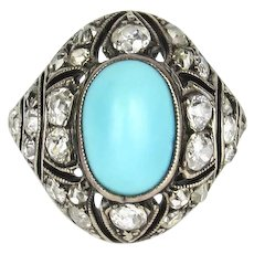 Art Deco Turquoise and Diamond Bombe Ring