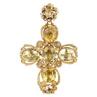 Georgian Cannetille Citrine Cross Pendant