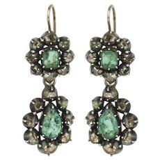 Georgian Emerald and Diamond Day/Night Earrings