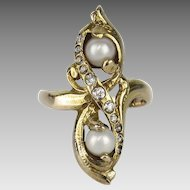 4K Art Nouveau Diamond and Pearl Ring
