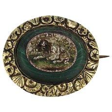 Antique 19th C Micro Mosaic Brooch of Cavalier King Charles Spaniel Dog