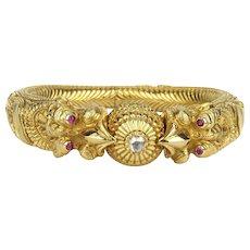 19th C Gem-set Makara Head Bangle Bracelet