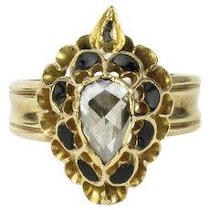15K Georgian Rose Cut Diamond Flaming Heart Ring