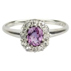 Antique 14K Pink Sapphire and Rose Cut Diamond Halo Ring