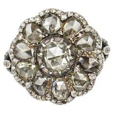 Georgian Rose Cut Diamond Cluster Ring