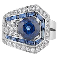 Platinum Art Deco Sapphire and Diamond Ring