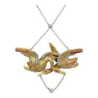 Art Nouveau Enamel and Diamond Swan Necklace in Platinum and 18K