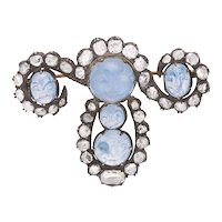 Late 19th C Moonstone and Diamond Brooch