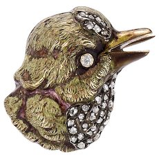 18K Enamel and Rose Cut Diamond Bird Brooch