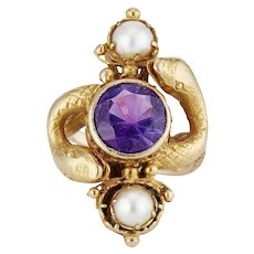 14K Victorian Double Snake Ring with Amethyst and Half Pearls