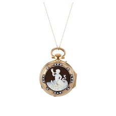 French 18K Pocket Watch with Agate Cameo of Triton