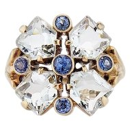 Vintage 14K Aquamarine and Sapphire Ring by Wordley, Allsopp and Bliss