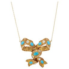 14K Late Victorian Bow with Chrysoberyl and Turquoise - Conversion Necklace