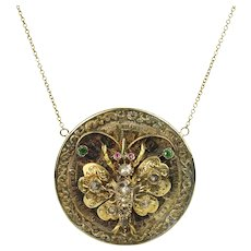 14K Victorian Gem-Set Butterfly Necklace
