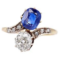 18k Edwardian Sapphire and Diamond Toi et Moi Ring