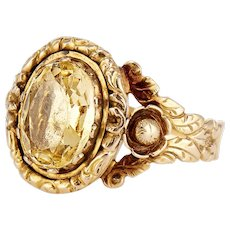 Antique 15K Georgian Citrine Ring