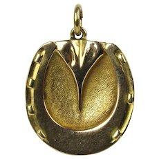 18K Victorian Rose Gold Horseshoe Pendant Locket