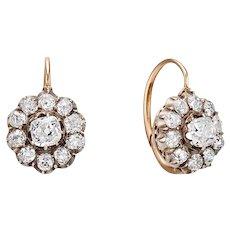 19th Century Diamond Cluster Earrings