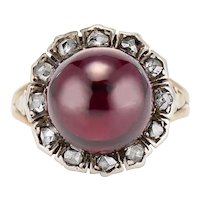 Garnet and Rose Cut Diamond Cluster Ring