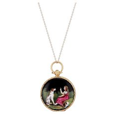 18K Georgian Enamel Locket of a Girl and her Dog