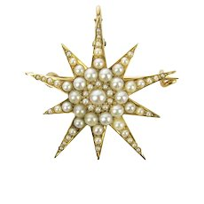 Antique 14K Pave Pearl Starburst Brooch Pendant by Riker Bros