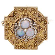Opal and Diamond Etruscan Revival Brooch Pendant by  Carlo Giuliano