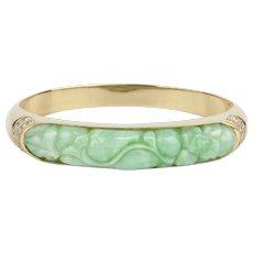 14K Natural Untreated Jade and Diamond Hinged Bangle Bracelet